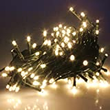 PMS 100/200/300/400/500 LED String Fairy Lights On Green Cable with 8 Light Effects, Ideal for Christmas, Xmas, Party,Wedding,ETC (Warm, 500 LEDs)