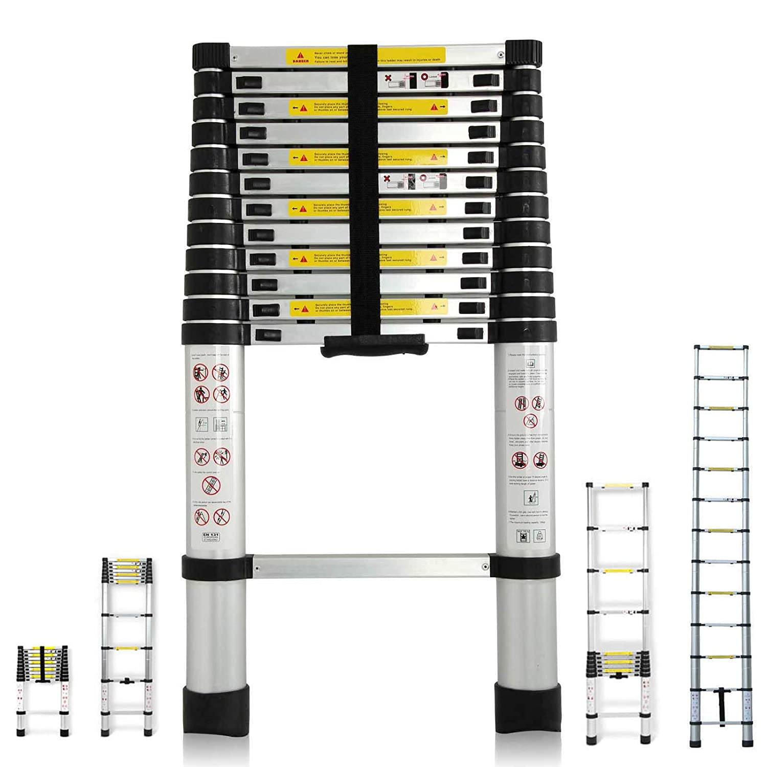 3.8M 12.5 Feet Telescopic Ladder Multi-Purpose Aluminium DIY Extendable 13 Steps 150KG Loading Capacity EN131 Certificate Kit For Home Loft Office UK Stock Bowose