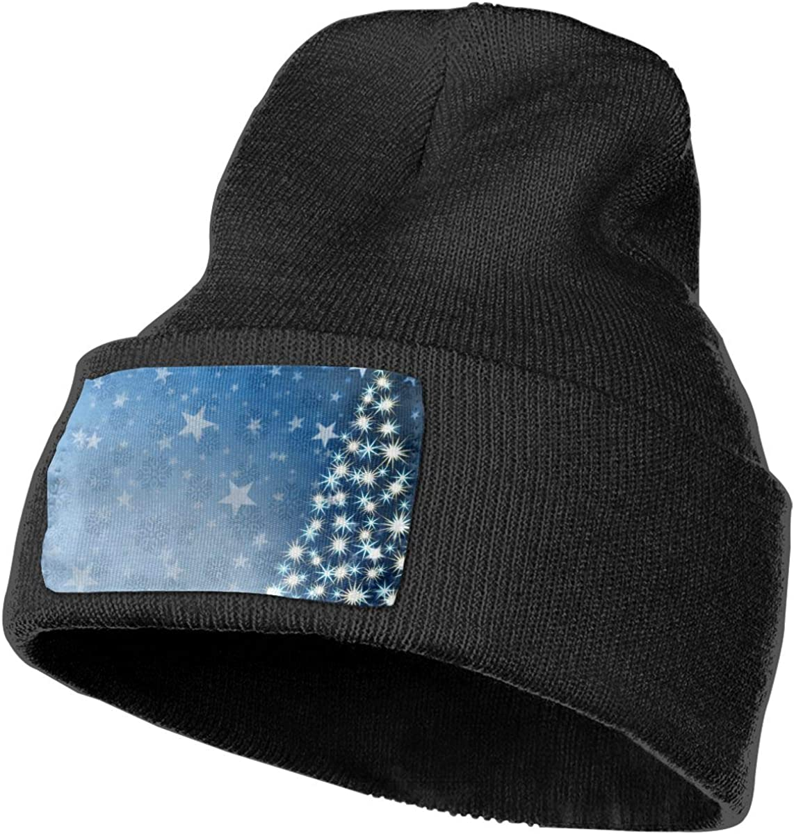 Christmas Stars Christmas Tree On Snowflakes Hat for Men and Women Winter Warm Hats Knit Slouchy Thick Skull Cap Black