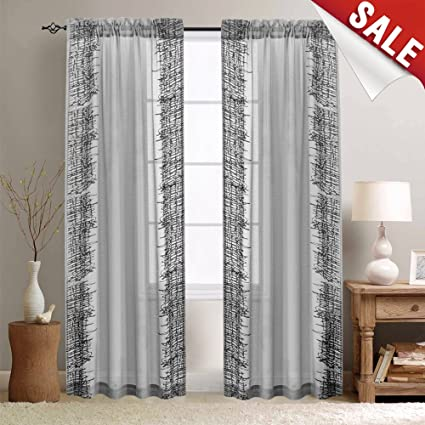 Jinchan Sheer Curtains For Living Room Grey Window Curtain 84u0026quot; Sheers  For Bedroom Curtain Panels