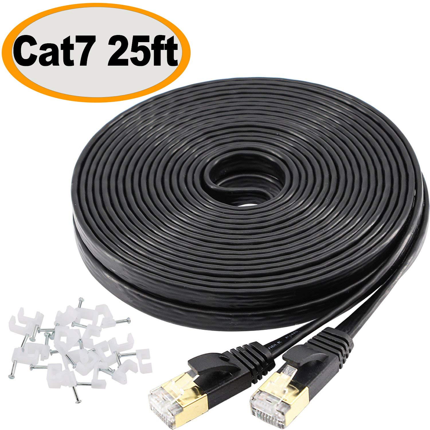 Jadaol Cat 7 Ethernet Cable 25 ft Shielded (STP), High Speed Solid Flat Internet Lan Computer patch cord, faster than Cat5e/Cat5/cat6, Durable Rj45 Cat7 network Wire for Router, Modem, Xbox, PS- Black by Jadaol
