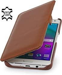StilGut Book Type Case con clip, custodia in vera pelle per Samsung Galaxy A5 (2015), cognac