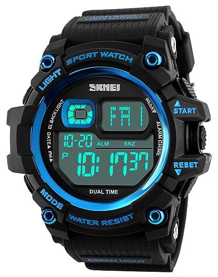 Mastop Brand Mens Digital Watches Big Dial Multifunction Chronograph Outdoor Waterproof Sport Wrist Watch (Blue