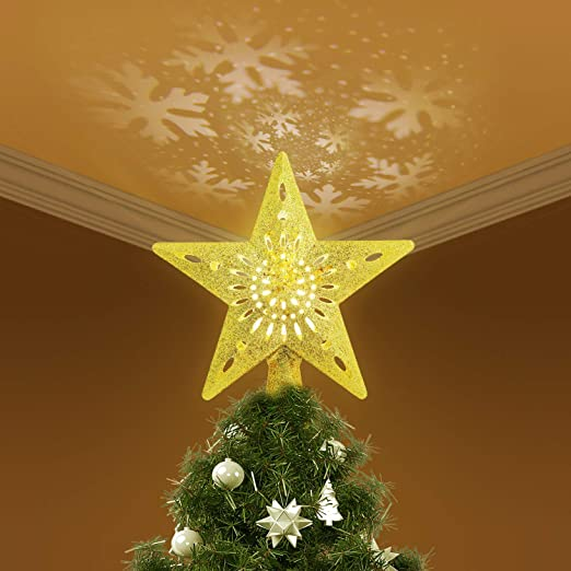 Tenlso Hollow Gold Star Christmas Tree Topper con proyector ...