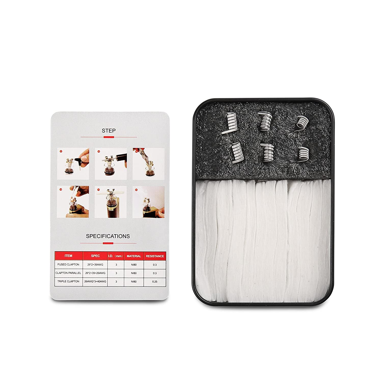 Coil Master Ready Box: Kit Vapeo de Resistencias Clapton + Algodón Orgánico Japonés Para Cigarrillos Electrónicos - Repuestos de Resistencias Prefabricadas ...
