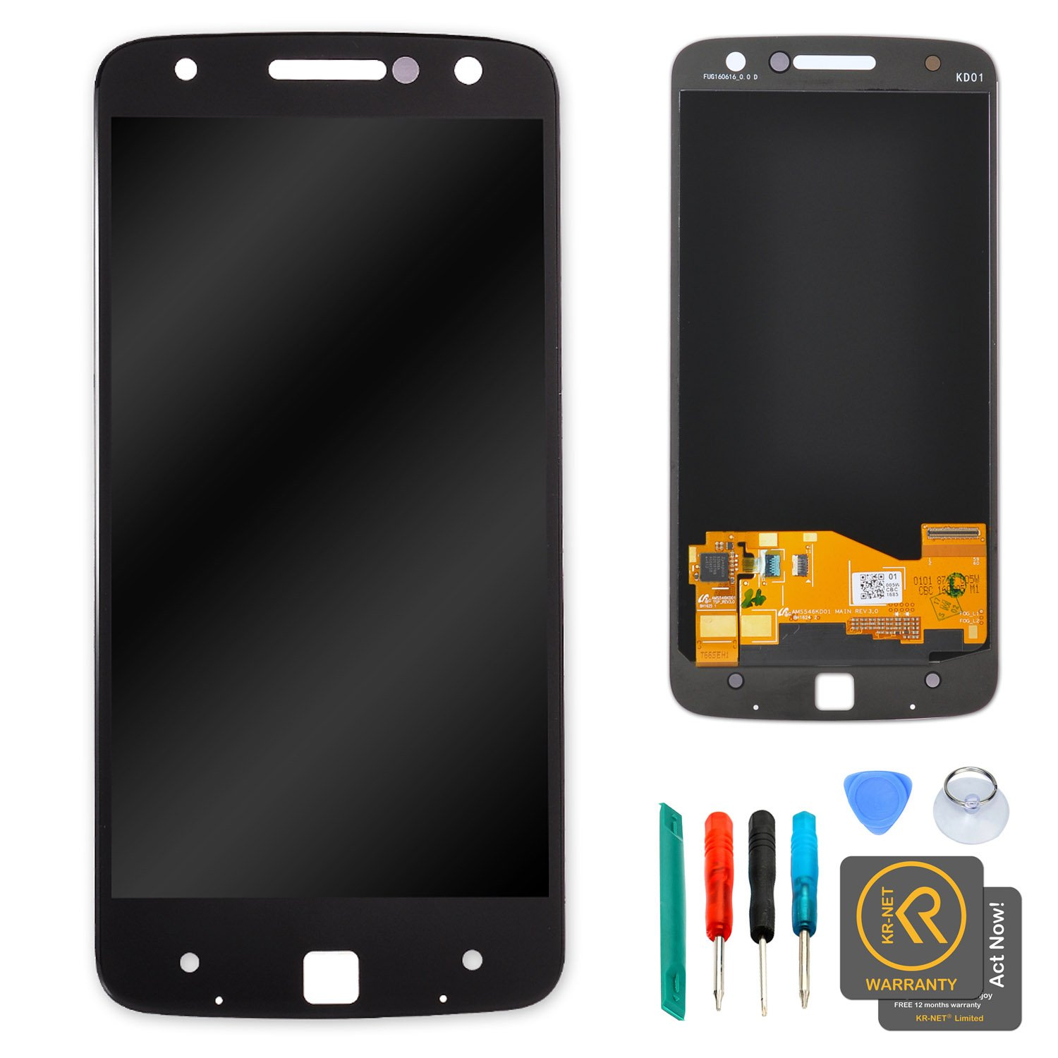 KR-NET Display LCD Touch Screen Digitizer Assembly Replacement for Moto Z XT1650 w/Repair Tools (Black)