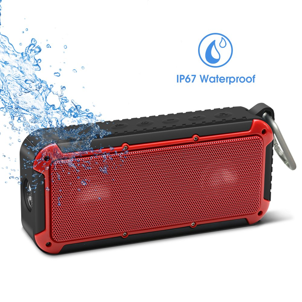 Waterproof Speaker Bicycle Speaker New Bee 10W Bluetooth Outdoor Speaker with Led Flashlight Metal Hook Loop and Bicycle Mount for Sports Travel Bicycle Cycling - Black Shenzhen Link Dream Electronics co. Ltd 7.12963E+11