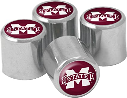 4-Pack Wincraft S55348 NCAA Mississippi State Bulldogs Metal Tire Valve Stem Caps
