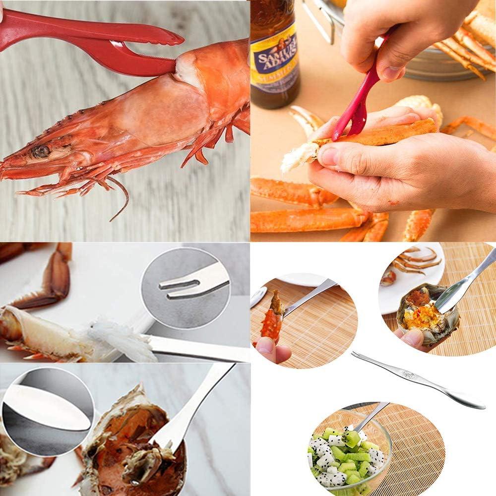 2 aragoste JDSUMS Set di 15 plettri per frutti di mare da cucina 6 forchette in acciaio inox per aragoste granchi 1 forbici gamberi e altri crostacei 6 plettri rossi