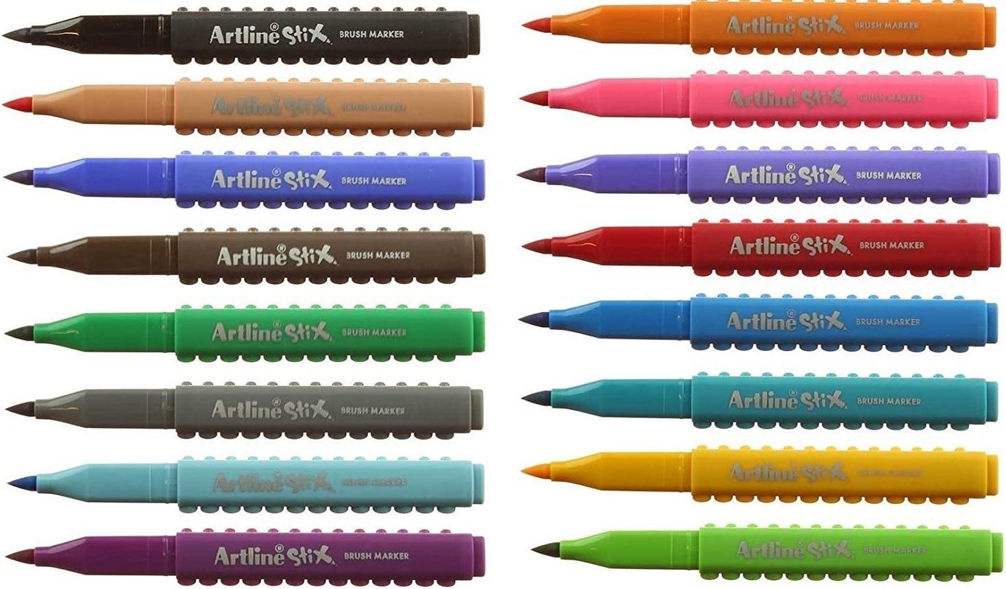 Artline Stix Cepillo Set De Pluma -16 Variedad Color Conexión Plumas: Amazon.es: Oficina y papelería