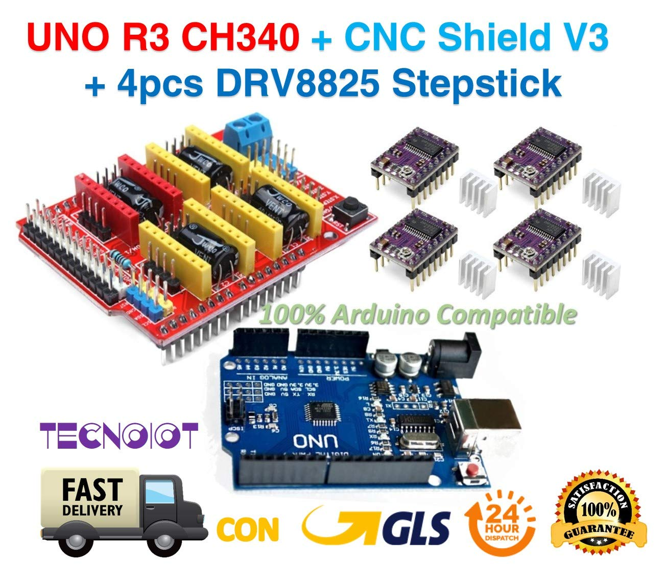 PACK 3D PRINTER - UNO R3 + CNC Shield V3 Expansion Board + 4pcs DRV8825 Stepper Motor Driver | Arduino expansion module CNC shield V3.0 + Arduino UNO R3 + 4pcs stepper motor controllers DRV8825 with heat sinks TECNOIOT UNO+CNC V3+DRV8825