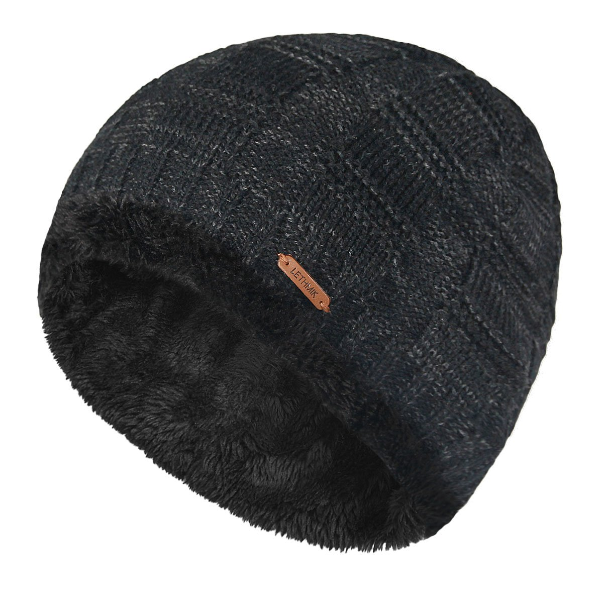 lethmik Unique Ribbed Knit Beanie Warm Thick Fleece Lined Hat Mens Winter Skull Cap skull beanie hat