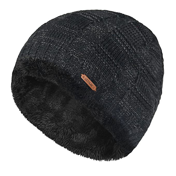 927eb855b673c LETHMIK Unique Ribbed Knit Beanie Warm Thick Fleece Lined Hat Mens Winter  Skull Cap Black
