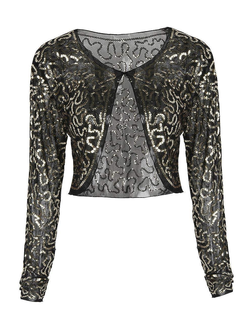 kayamiya Women's Sequin Jacket Sparkly Long Sleeve Cropped Shrug Bolero