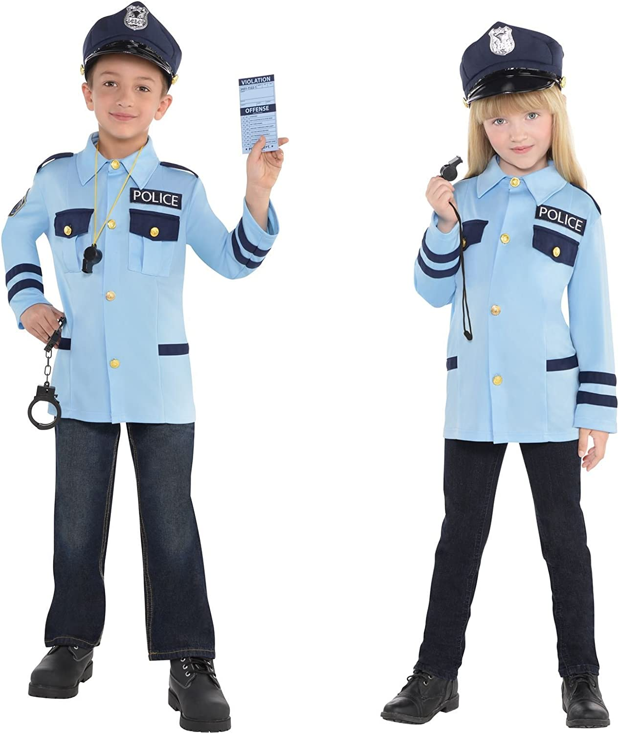 Childs Policeman Costume Outfit Fancy Dress Kids Dress Up Age 3-12