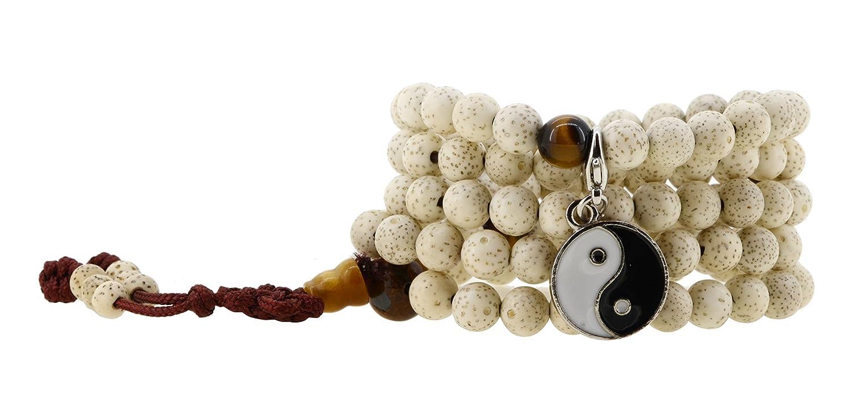 Unisex Tiger Eye Yoga 108 Tibetan Buddhist Bodhi Worry Prayer Beads Lotus Seeds Mala Bracelet Necklace