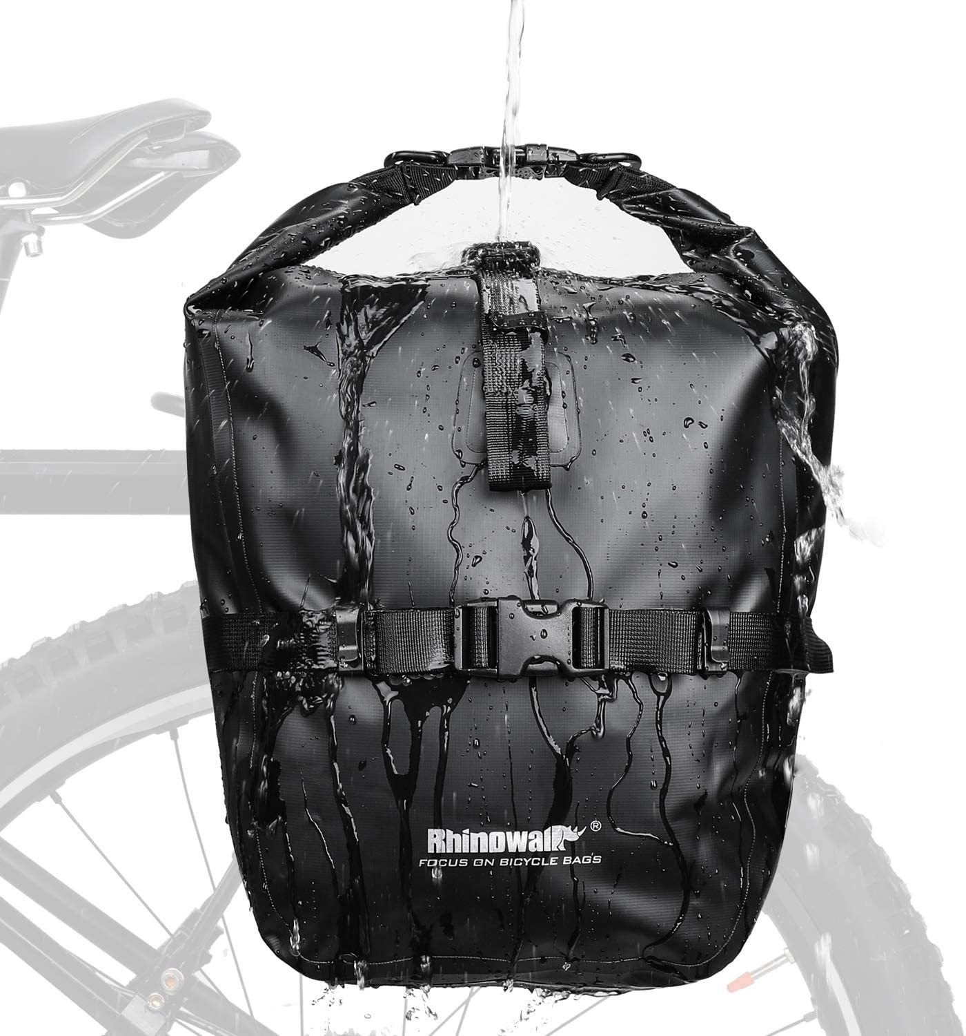 Rhinowalk 20L Bike Bag Waterproof Bicycle Pannier Rear Seat Bag for Cycling Bicycling Traveling Riding