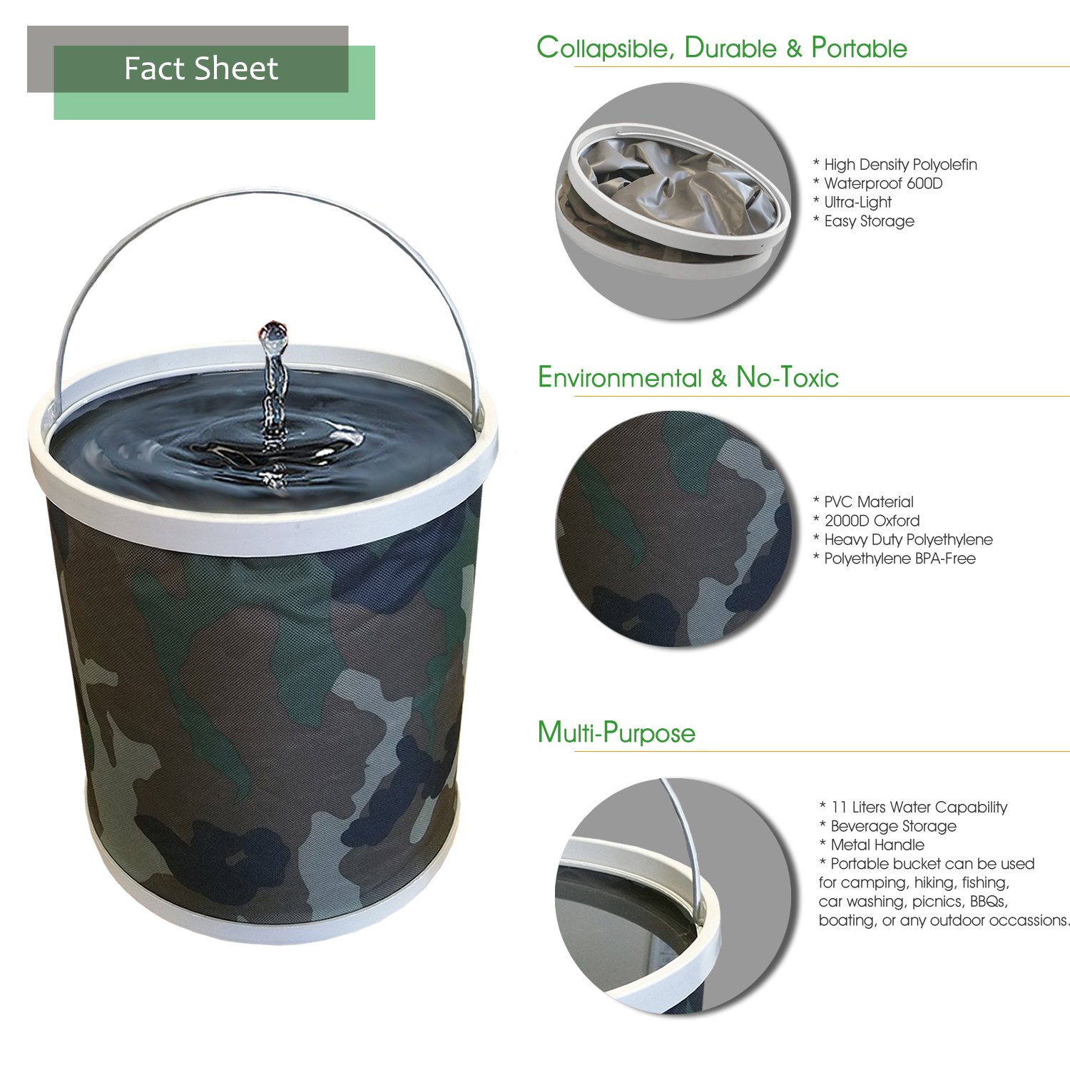 Compact Collapsible Water Bucket by InSassy – Perfect for Camping, Gardening and Outdoors – Durable, Lightweight and Portable Folding Wash Basin Storage Fishing Beach Container – Camo Color by InSassy (Image #4)