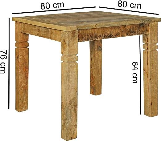 KS-Furniture Rustica - Mesa de comedor cuadrada de madera maciza ...