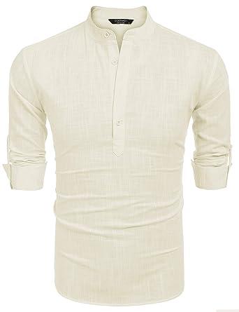 7bfeeeee074 COOFANDY Men Premium Henley Neck Linen Shirts Casual Long Sleeve Basic  Shirts