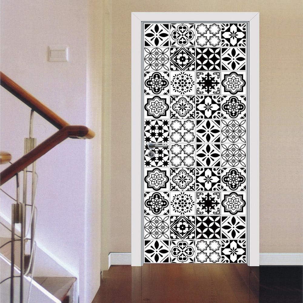 WIGGONJDW Autocollant Porte Sticker Mural 3D Noir et Blanc /étanche Stickers carrelage distincts int/érieurs en Bois Mural st/ér/éo 77X200cm
