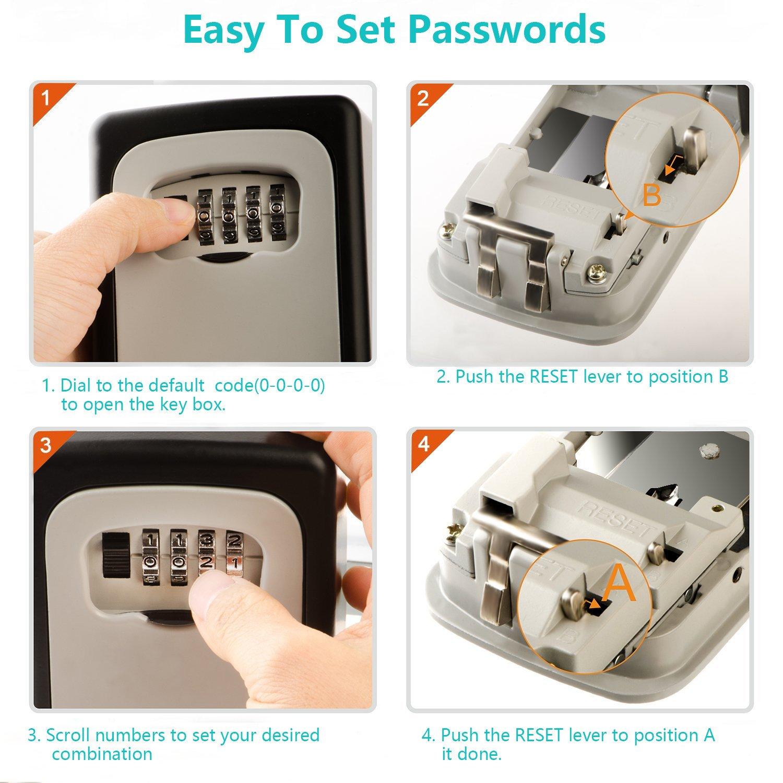 KIPRUN Key Storage Lock Box, 4-Digit Combination Lock Box, Wall Mounted Lock Box, Resettable Code (Belt Hook) by KIPRUN (Image #5)