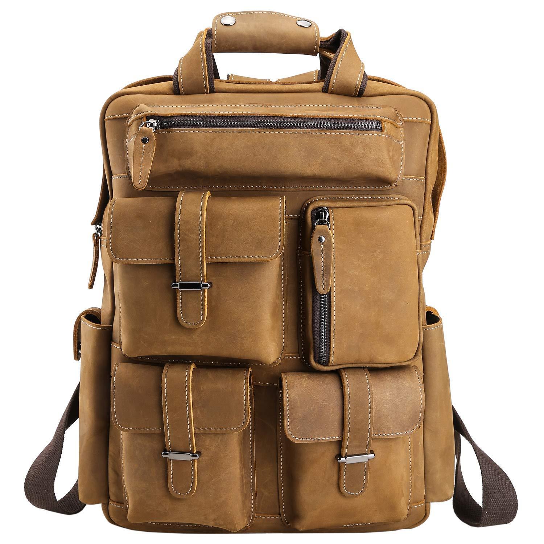 WIMIメンズオーバーサイズレザーバックパック| Jtogo.jpマルチポケット防水バックパック16インチコンピューターケース|旅行に最適   B07GB5VV1M