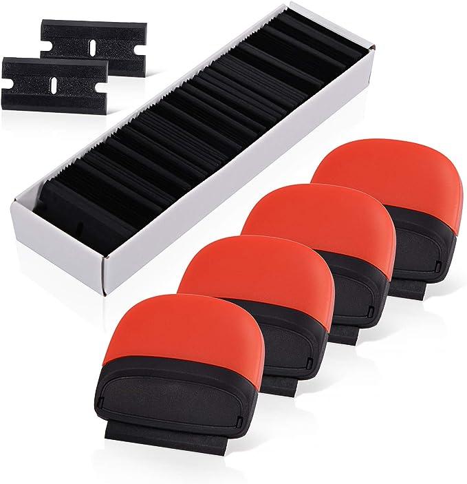 Ehdis 4 Stück Mini Kunststoff Schaber Mit 100 Kunststoff Klingen Für Vinyl Aufkleber Sticker Entfernen Glas Und Fenster 1 5 Zoll Baumarkt