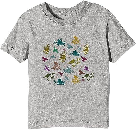 Vistoso Aves Niños Unisexo Niño Niña Camiseta Cuello Redondo Gris Manga Corta Tamaño XL Kids Unisex Boys Girls T-Shirt Grey X-Large Size XL: Amazon.es: Ropa y accesorios