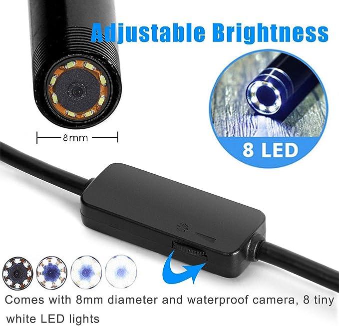 WiFi box Sucker ispezione fotocamera Maso IP67 impermeabile wireless HD 1200P telecamera endoscopica con un piccolo gancio compatibile con iOS//Android lunghezza del cavo 1-2 m 8 luci LED