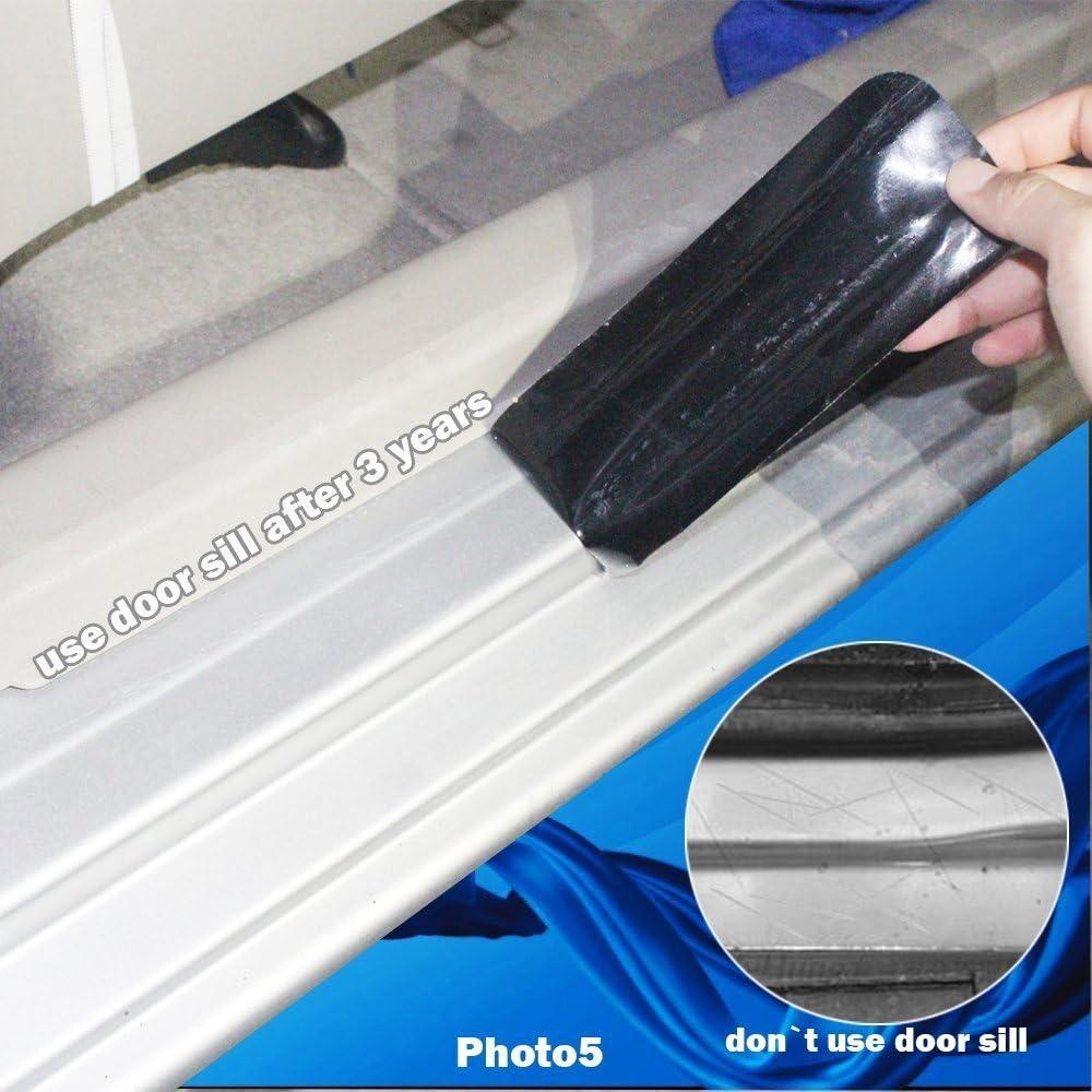 Car Decoration Door Sill Scuff Plate Door Sill Protectors Carbon Fiber Vinyl Sticker Silver 4Pcs