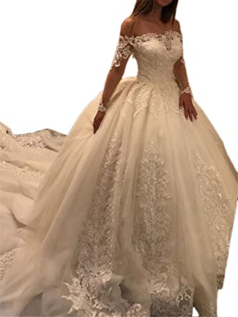 57840b703088 Annxrose Women's Ball Gown Long Sleeve Appliques Tulle Off The Shoulder  Wedding Dress Bridal Gown Champagne