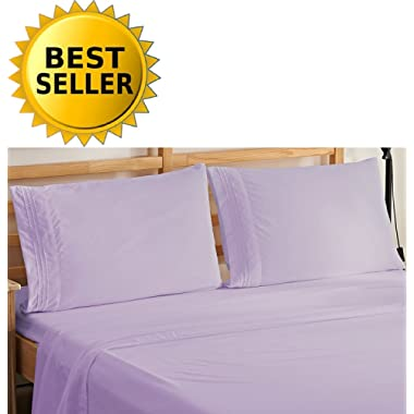 Elegant Comfort 4-Piece Bedding Sheet Set! Luxury Soft 1500 Thread Count Egyptian Quality Wrinkle & Fade Resistant with Deep Pocket, Queen, Lilac