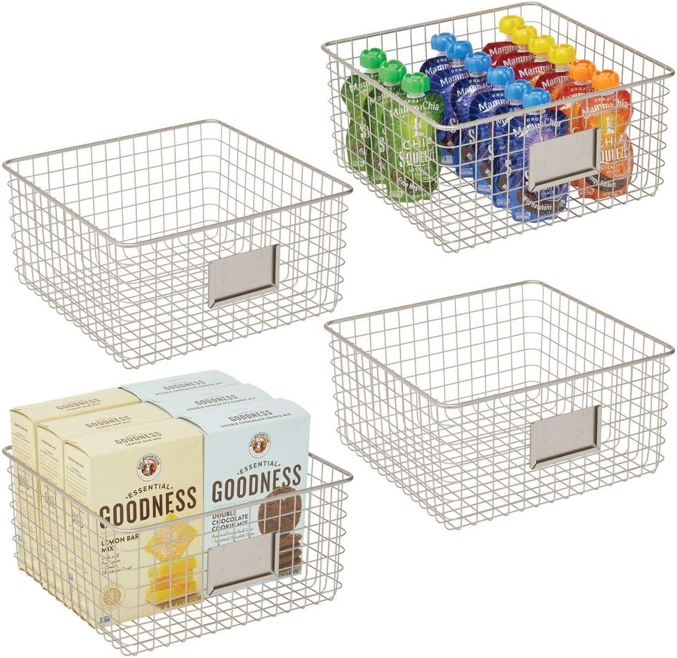 mDesign Farmhouse Decor Metal Wire Food Organizer Storage Bin Baskets with Label Slot for Kitchen Cabinets, Pantry, Bathroom, Laundry Room, Closets, Garage - 4 Pack - Satin