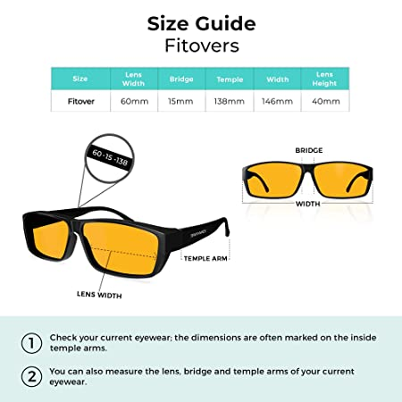 0c6ff855e27 Swanwick Sleep Fitover Blue Light Blocking Glasses and Computer Eyewear -  Wear OVER your Prescription Glasses or Readers SBLBG (F )-101 Christmas  gift ideas