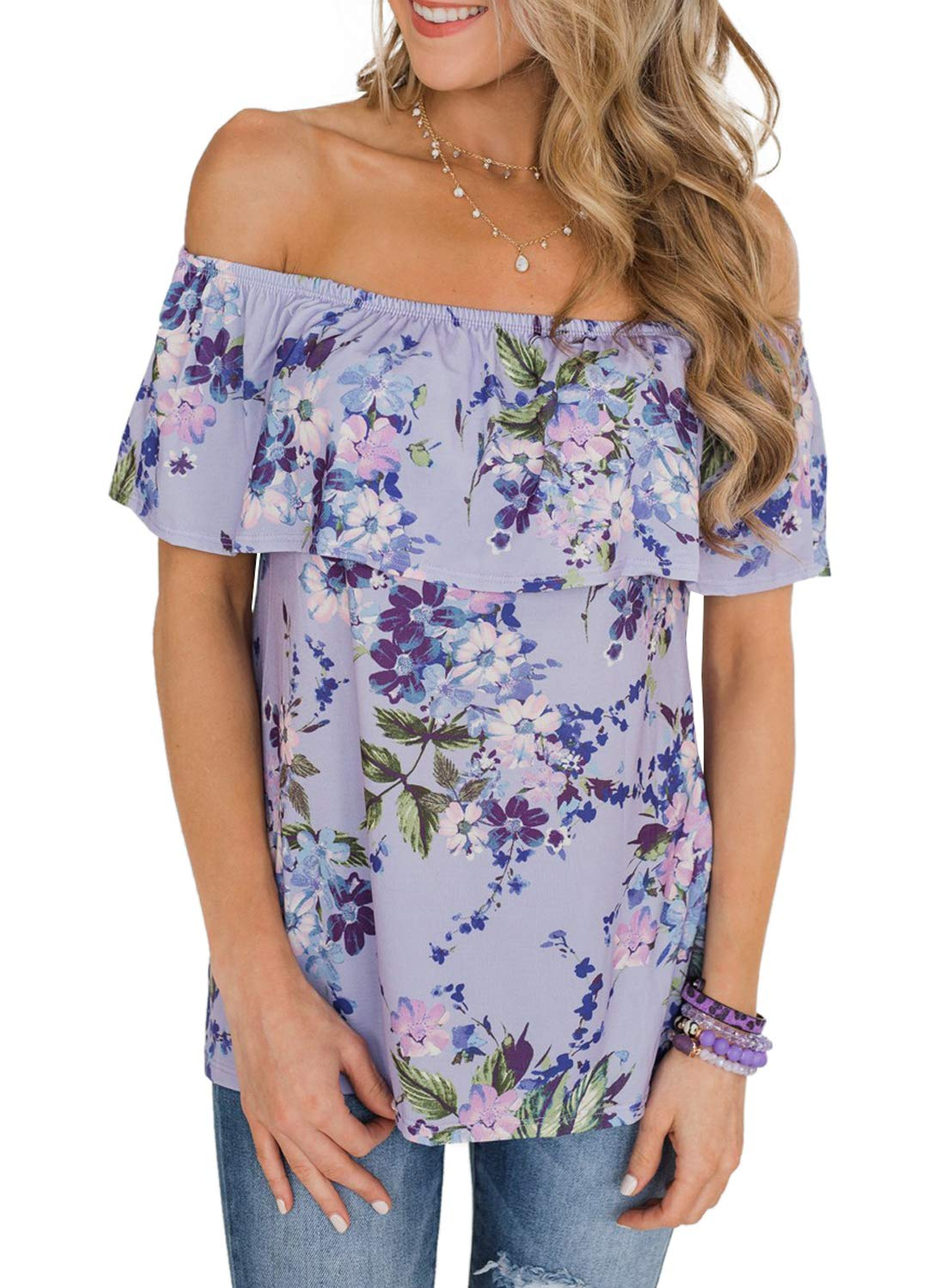 Asvivid Womens Casual Floral Printed Off The Shoulder Tops Ruffle Short Sleeve Loose Vacation T-Shirt S Purple