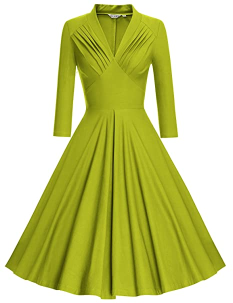 MUXXN Vestido para mujer, diseño vintage de los años 50 y 60, con cuello