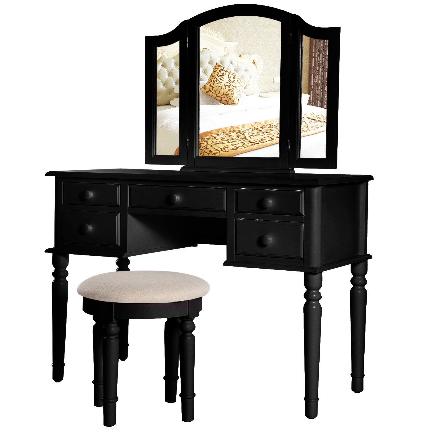Black makeup table mugeek vidalondon for Black makeup desk