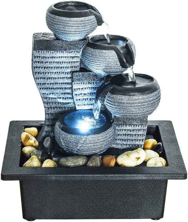 "BBabe Desktop Waterfall Fountain Decor LED Illuminated Indoor Portable Waterfall Tabletop Fountains 10 1/5"" High"