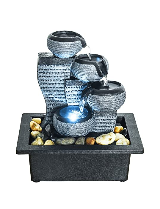 "SunJet 4-Tier Desktop Water Fountain Submersible Pump Indoor Decoration – Portable Tabletop Decorative Waterfall Kit - Soothing Relaxation, Zen Meditation Ambient Office Home (10"" H-Right)"
