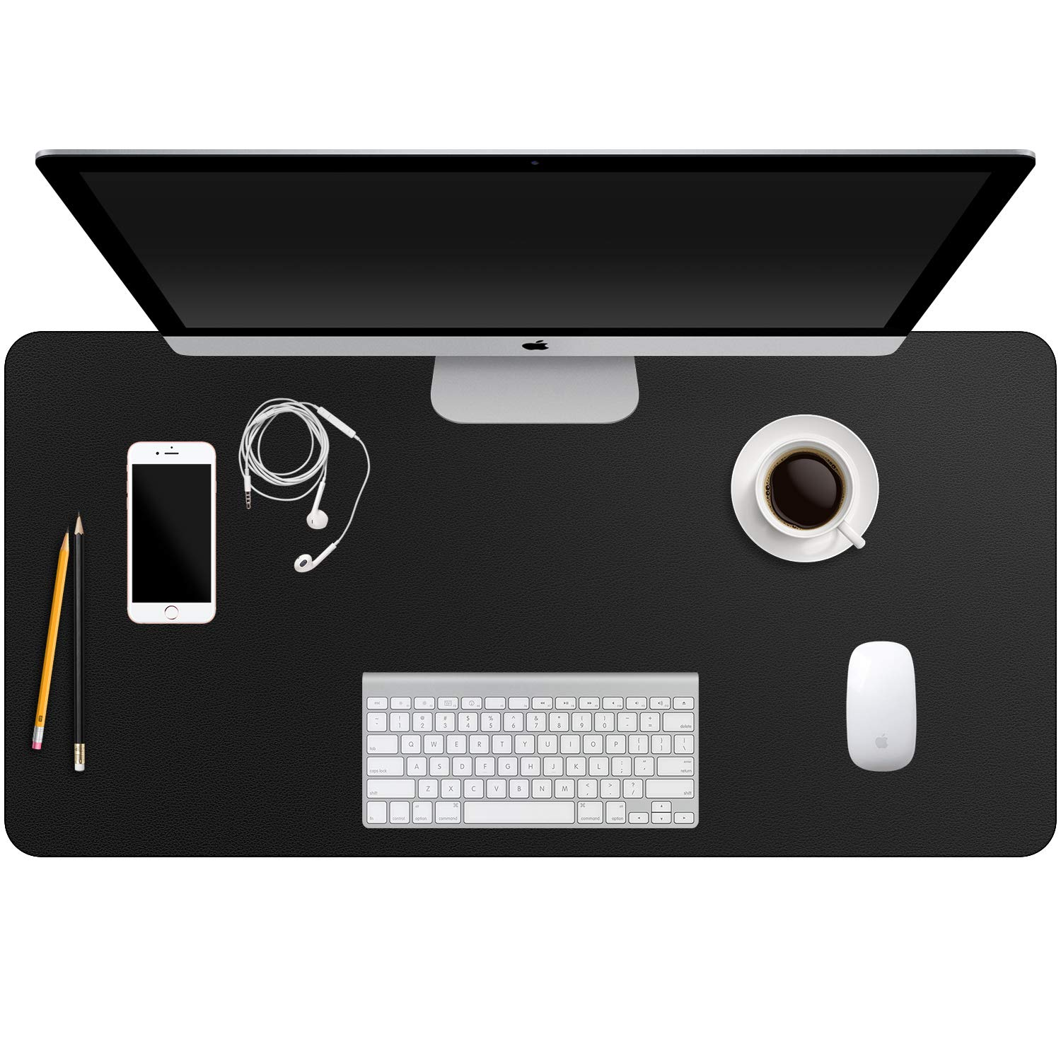 Desk Pad Black,Computer Desk Mat Leather,Desk Blotter Protector and Waterproof Desk Writing Pad for Kids,Office/Home,31.5''x15.8''