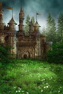 AOFOTO 4x6ft Magic Forest Vintage Medieval Castle Background Fairytale Florets Meadow Photography Backdrop Wonderland Princess Knight Prince Kid Girl Boy Artistic Portrait Photo Studio Props Wallpaper