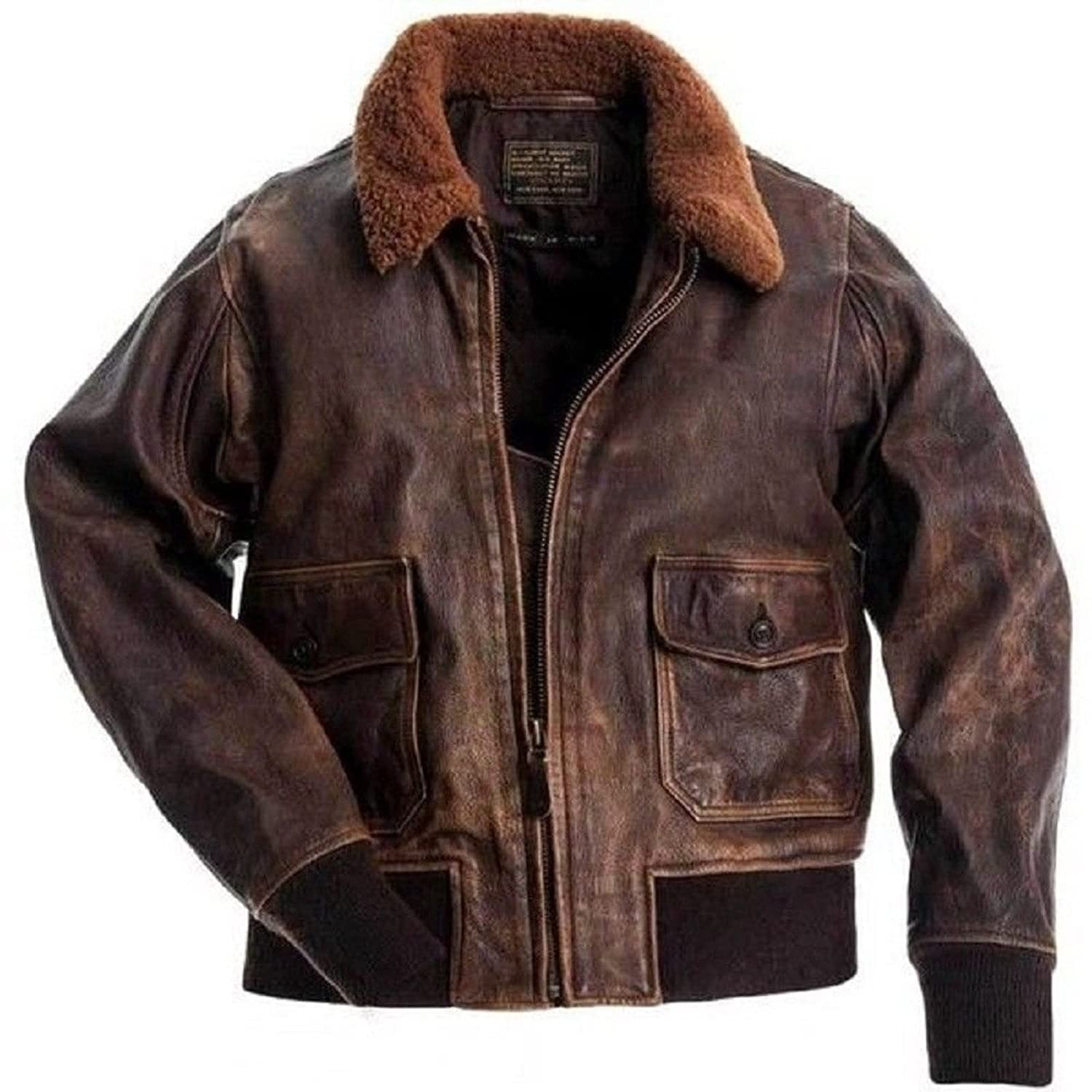 Men's Distressed Aviator Brown Leather Bomber Jacket - DeluxeAdultCostumes.com