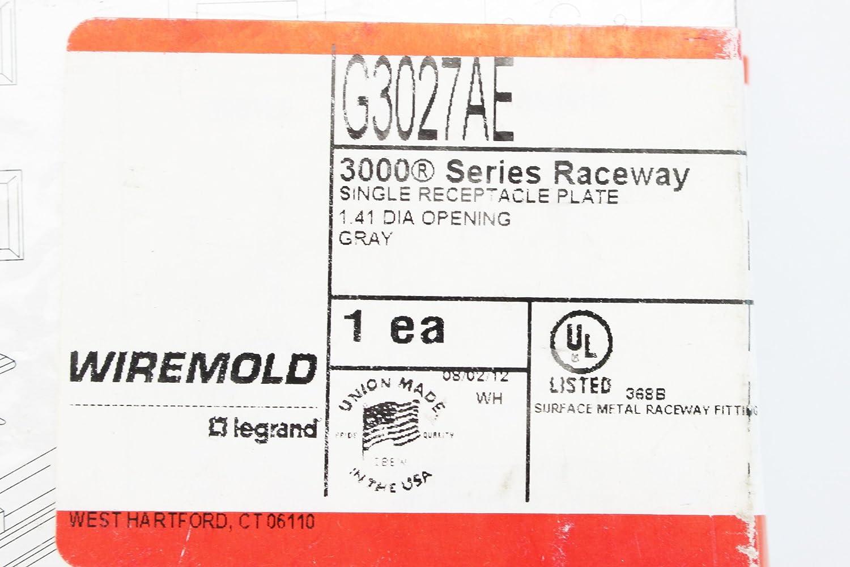 Wiremold Legrand G3027AE Single Receptacle Plate 300 Series Raceway ...