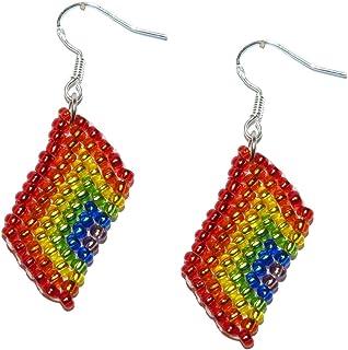Union Jack UK Bead Flag Earrings - Handmade Bead Work Jewellery (B) wH2Wejxj