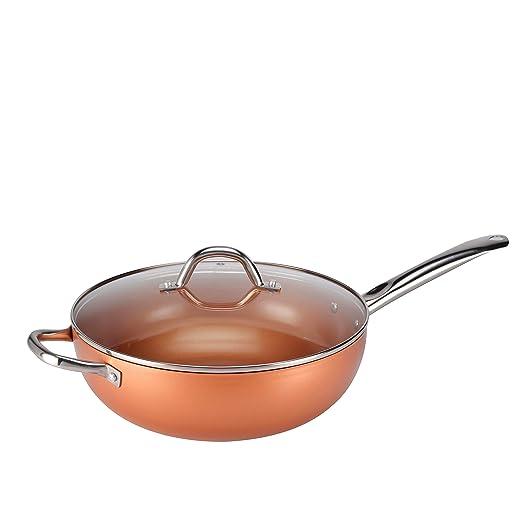 Copper Chef CCW30, Wok Anti-adherente con Tapa de Vidrio Templado ...