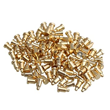 Yibuy 100pcs 2x2mm Gold Plated Copper Pogo Pins Probe Spring Loaded Waterproof