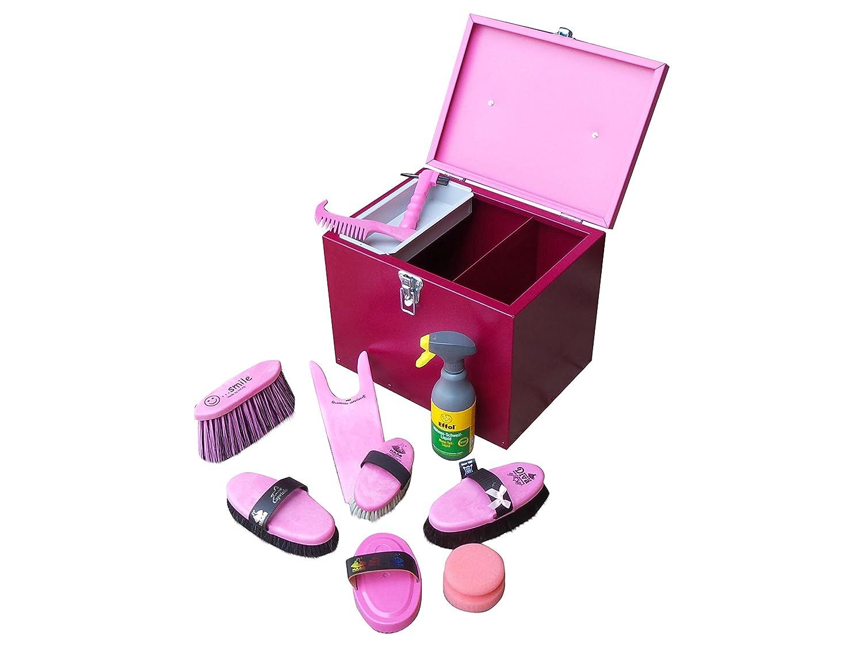 Alu-Putzbox in pink/rot mit Farbfüllung pink Lammfell- u. Rosshaarkardätsche Striegel uvm. und Effol Mähnen- Schweif Liquid
