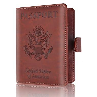 Passport Holder Cover-RFID Blocking PU Leather Passport Case Travel Wallet By Talent (Brown)