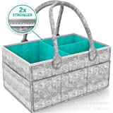Lemonda Portable Large Baby Diaper Caddy Organizer Tote,Nursery Diaper Storage Bin,Infant Felt Basket with Zipper Lid and Leather Handle,Baby Shower Gift Basket Idea (Style 1)